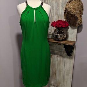 Worthington kelly green belt-neck halter dress